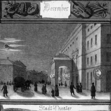 A pesti Német Színház az egykori Gizella (ma Vörösmarty) téren 1837-48 között, M. Schwindt rajza
