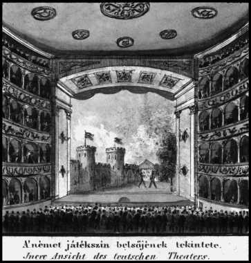 A Német Színház színpada, 1830-as évek, Carl Vasquez litográfiája