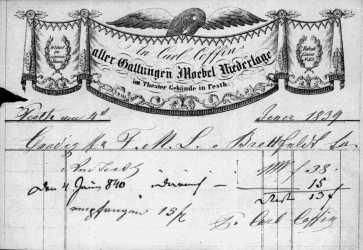 1839-ben kelt számla a Dohány utcából