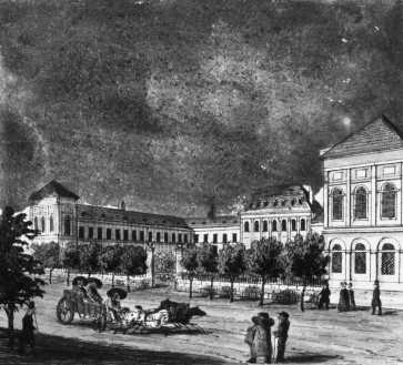 A Valero-selyemgyár a Király utcában, 1830-as évek, Vasquez metszete