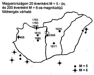 A Magyarországon és szomszédságában kipattant 5 és 6 magnitúdójú földrengések